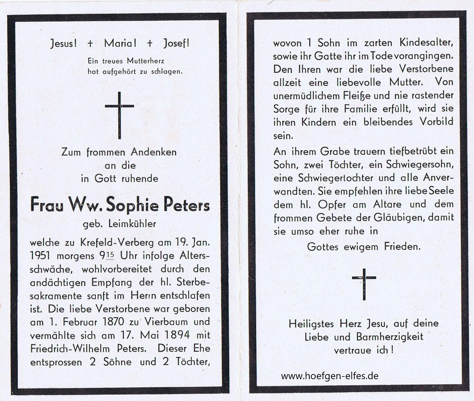 Totenzettel Aus Krefeld Traar Verberg Hoefgen Elfesde